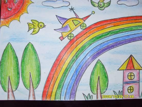 风雨 过后见 彩虹简笔画 风雨 过后见 彩虹 图片欣