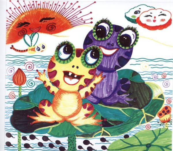 小青蛙找妈妈绘画_