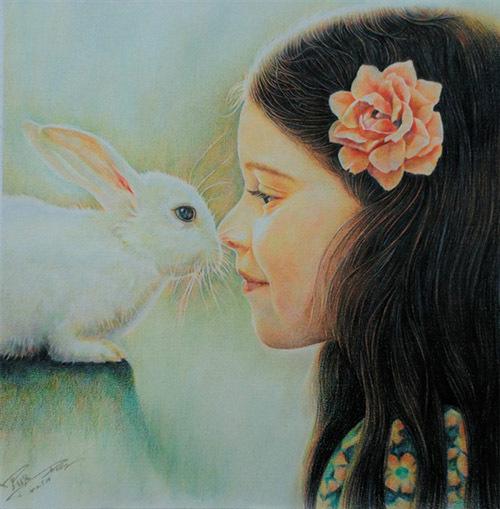装饰画-小兔子和小女孩
