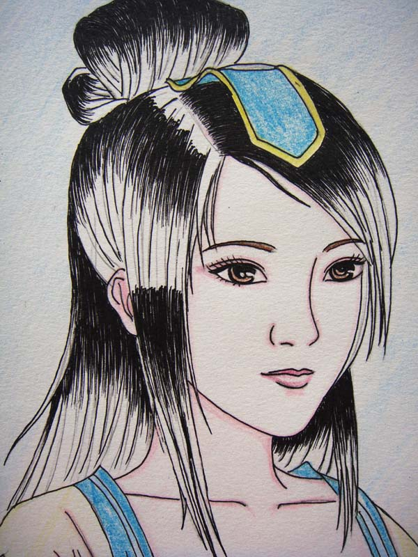 铅笔画-古典小美女