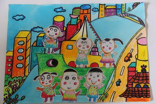 家乡风景儿童铅笔画