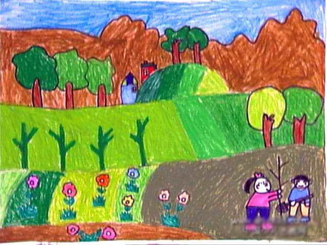 春天 来 植树 了 简笔画 春天 来 植树 了图片欣赏