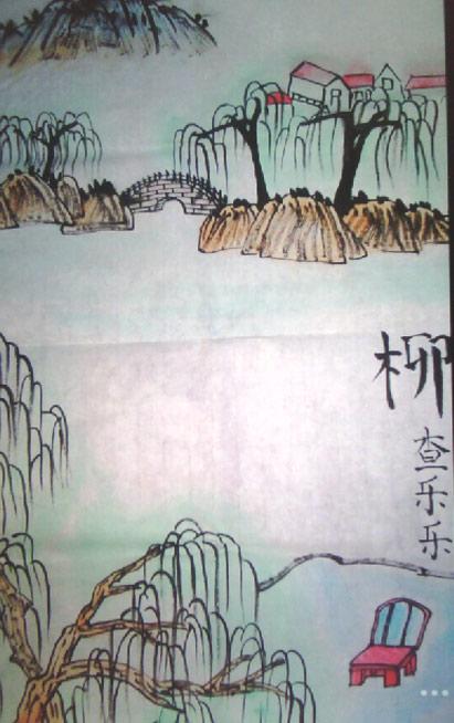 春天的柳树简笔画优秀作品欣赏