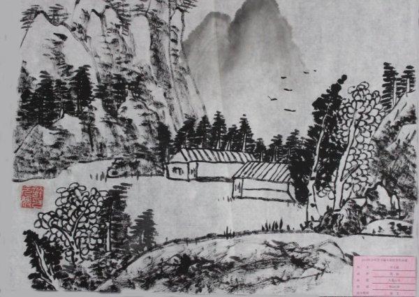 水墨山水简笔画 水墨山水图片欣赏 水墨山水儿童画画作品