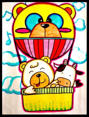 热气球简笔画_热气球图片欣赏_热气球儿童画画作品-有