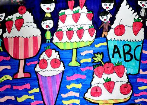 冰淇淋城堡简笔画 冰淇淋城堡图片欣赏 冰淇淋城堡儿童画画作品