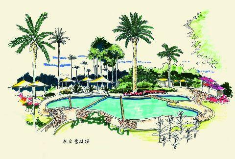 漂亮的水池简笔画 漂亮的水池图片欣赏 漂亮的水池儿童画画作品