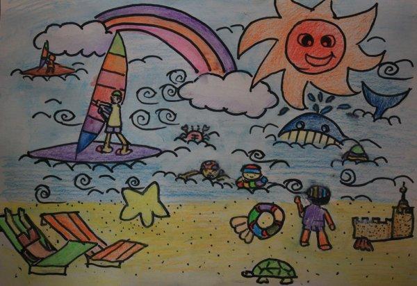 海边漫游简笔画_海边漫游图片欣赏_海边漫游儿童画画