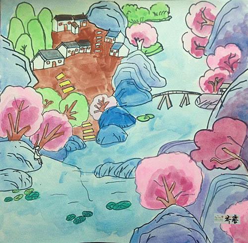 青山绿水简笔画 青山绿水图片欣赏 青山绿水儿童画画作品