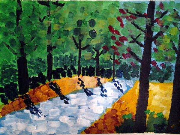 森林中的小河简笔画 森林中的小河图片欣赏 森林中的小河儿童画画作品