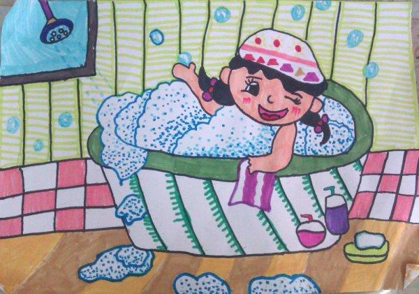 我爱洗澡简笔画 我爱洗澡图片欣赏 我爱洗澡儿童画画作品