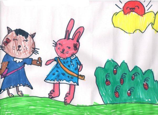 儿童画画 小猫和小兔儿童画画