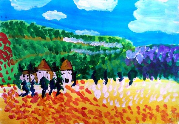儿童画画 旅途中的风景儿童画画