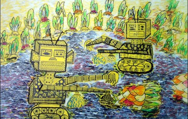 机器人拨萝卜简笔画 机器人拨萝卜图片欣赏 机器人拨萝卜儿童画画作品