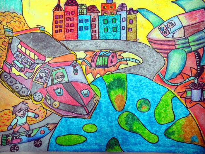 科幻画之未来学校 -未来学校简笔画 未来学校图片欣赏 未来学校儿童画