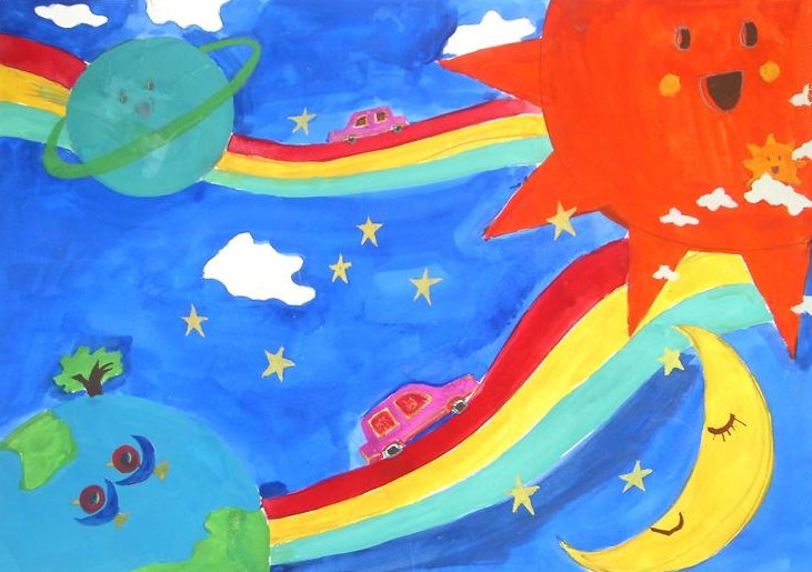 彩虹路简笔画_彩虹路图片欣赏_彩虹路儿童画画作品-有