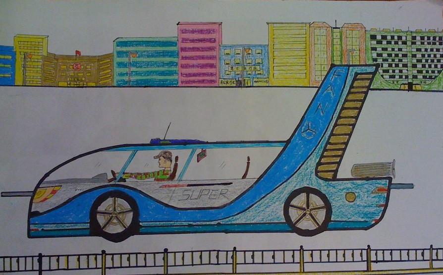 儿童画画 未来的城市快车儿童画画