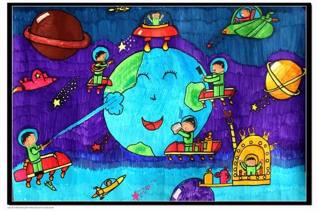 爱护地球简笔画_爱护地球图片欣赏_爱护地球儿童画画