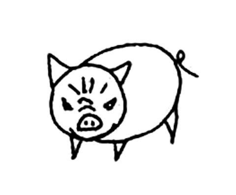 愤怒的小猪简笔画 愤怒的小猪图片欣赏 愤怒的小猪儿童画画作品