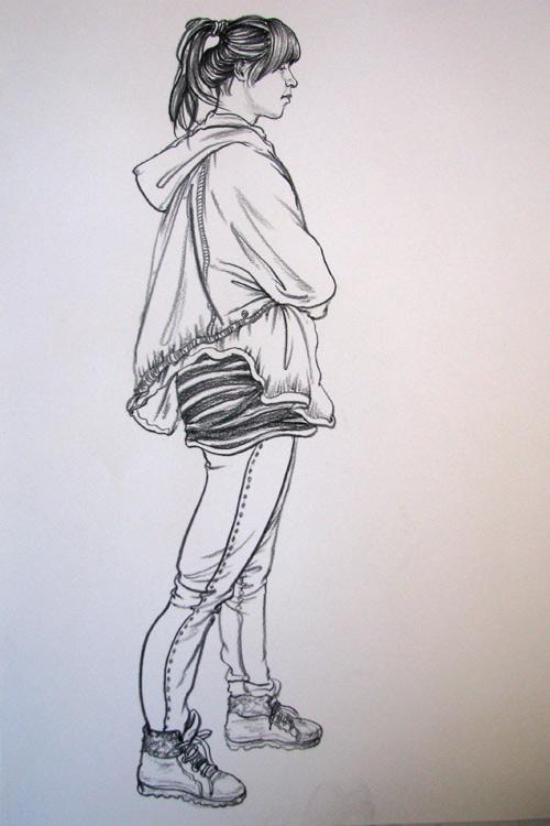 女学生不同姿态速写