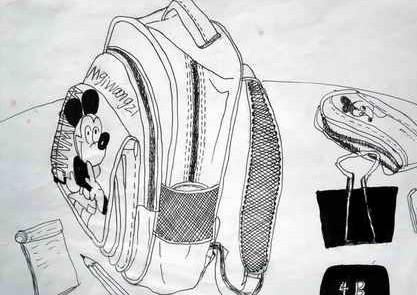我的书包和文具简笔画 我的书包和文具图片欣赏 我的书包和文具儿童画画作品